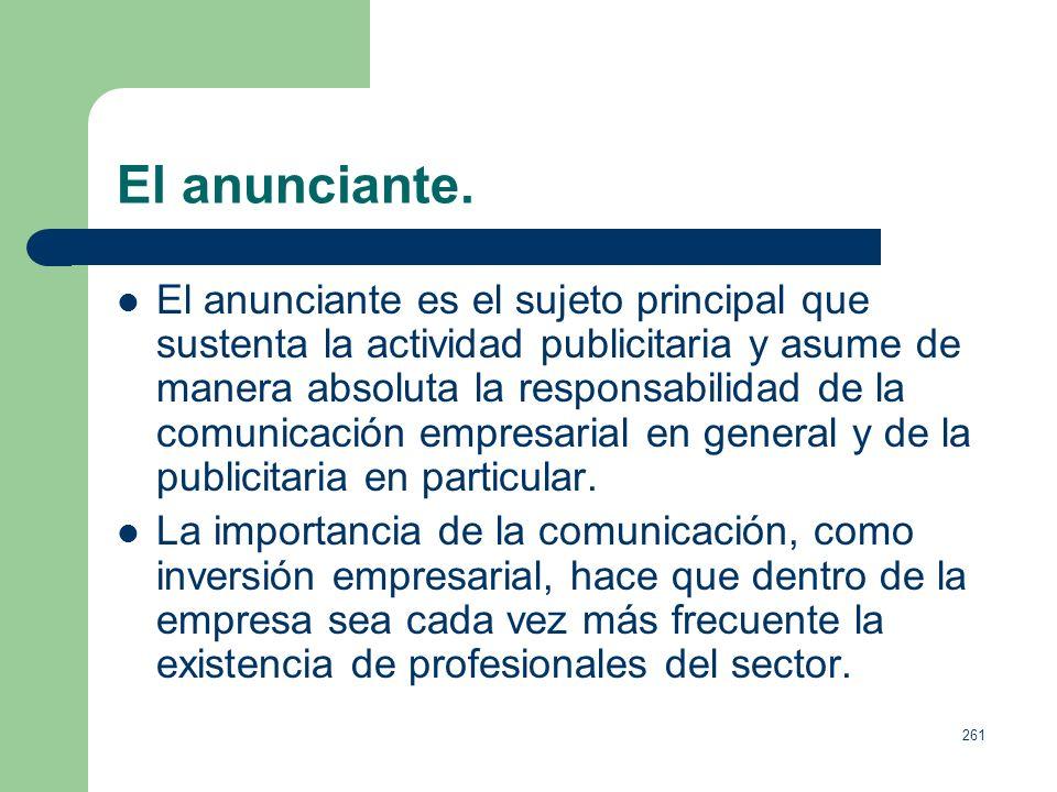 260 Estructura del sector publicitario. La estructura, entendida como organización de la actividad publicitaria, estaría compuesta por: Anunciantes. E