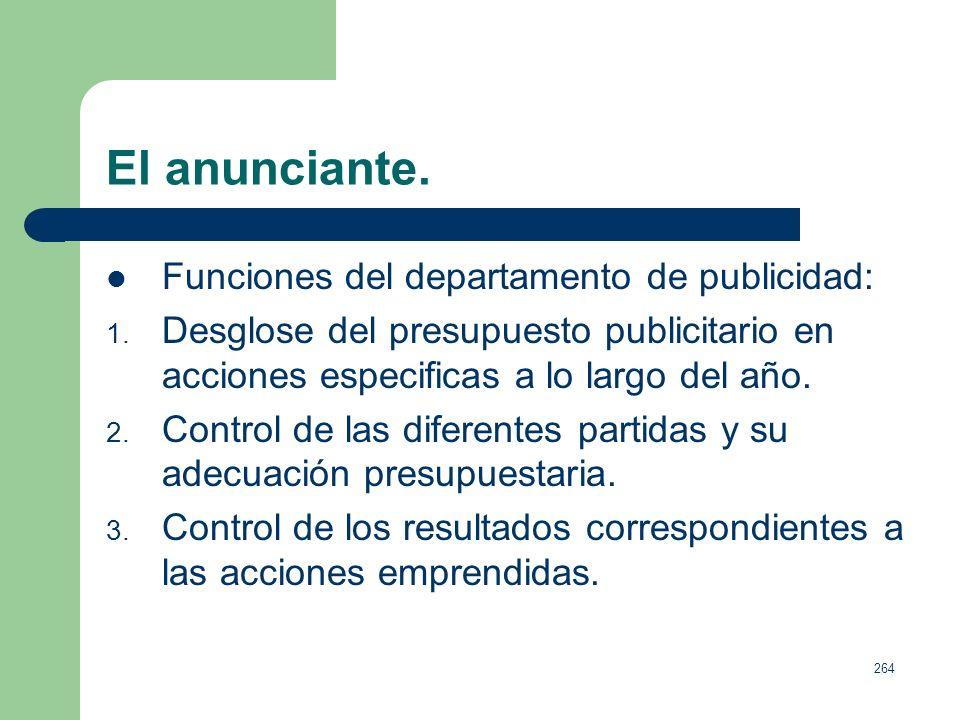 263 El anunciante. Decisiones directivas: 1. Marcar los objetivos publicitarios generales y específicos. 2. Determinar las líneas estratégicas de comu