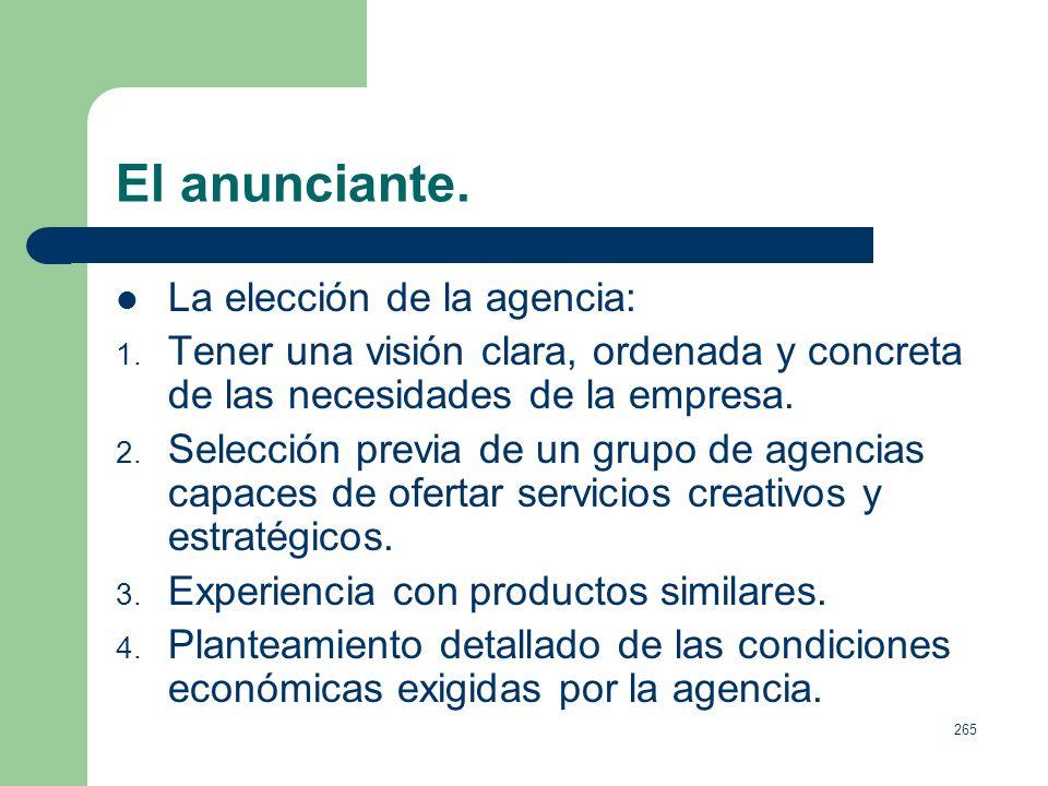 264 El anunciante. Funciones del departamento de publicidad: 1. Desglose del presupuesto publicitario en acciones especificas a lo largo del año. 2. C