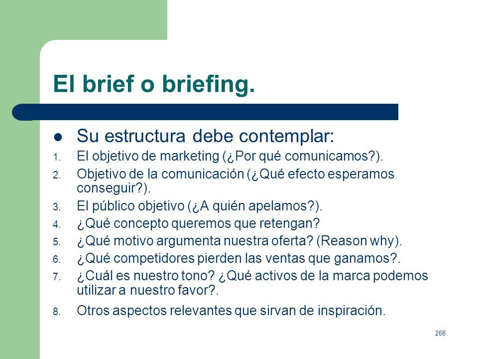 267 El brief o briefing. El briefing, nexo entre anunciante y agencia. Punto de partida de toda acción publicitaria. Según la ANA (American Associatio