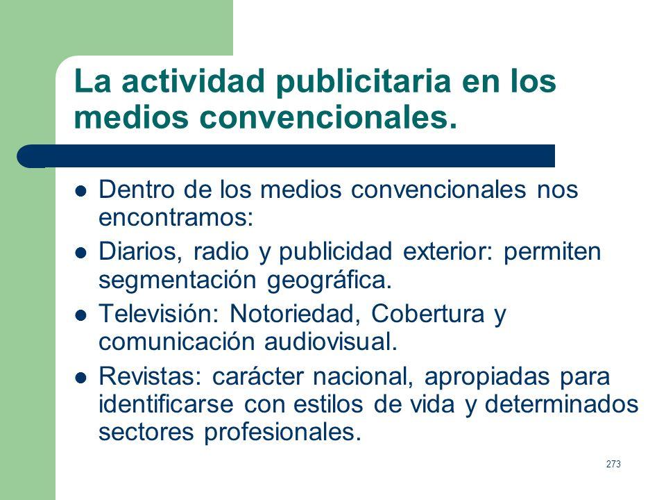 272 La actividad publicitaria en los medios convencionales. Desde la perspectiva publicitaria, los medios son los canales de comunicación utilizados p