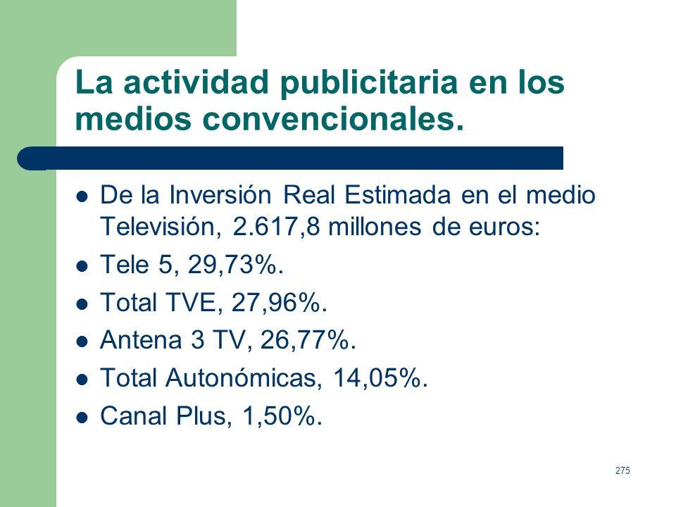 274 La actividad publicitaria en los medios convencionales. Los Medios Convencionales consiguieron captar 6.152,7 millones de euros de inversión en 20