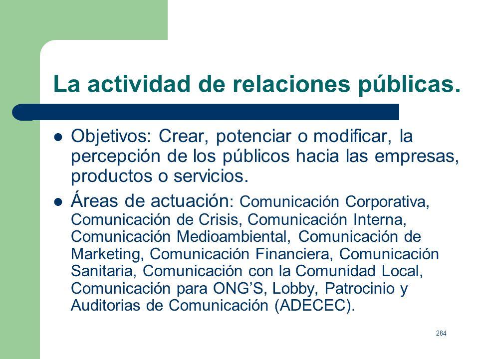 283 La actividad de relaciones públicas. Definición: Los problemas del concepto. Relaciones públicas y comunicación. Las técnicas que una empresa, una