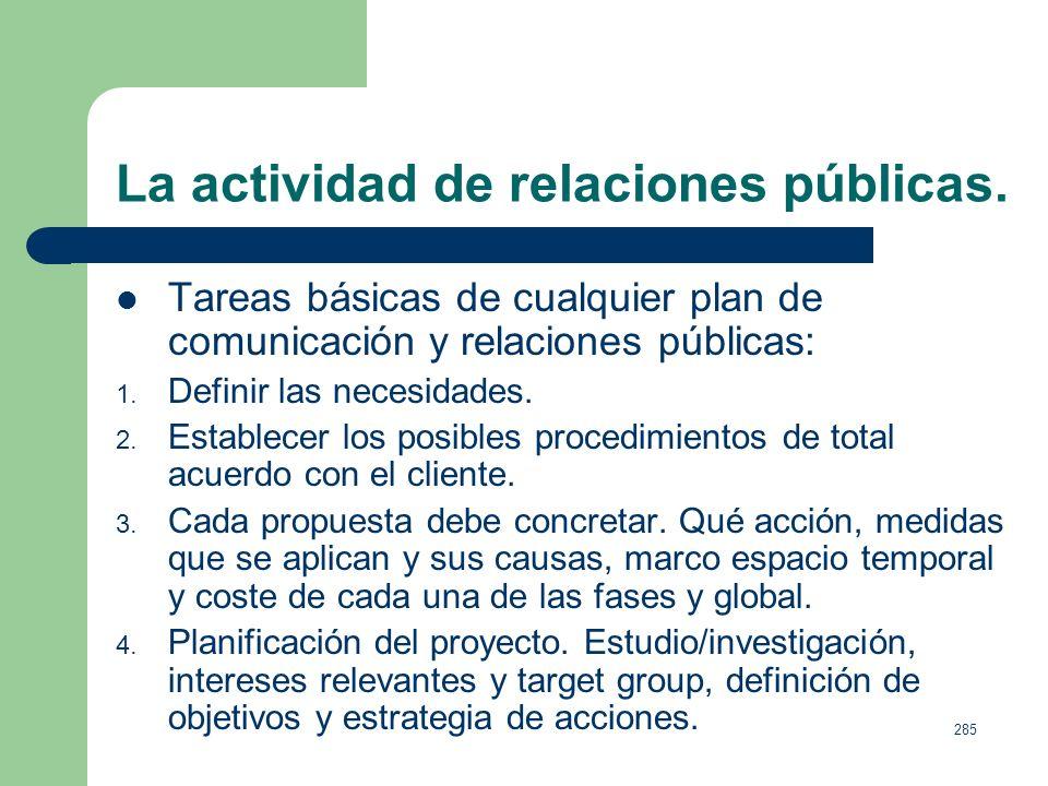 284 La actividad de relaciones públicas. Objetivos: Crear, potenciar o modificar, la percepción de los públicos hacia las empresas, productos o servic