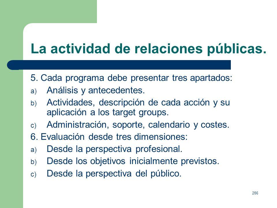 285 La actividad de relaciones públicas. Tareas básicas de cualquier plan de comunicación y relaciones públicas: 1. Definir las necesidades. 2. Establ