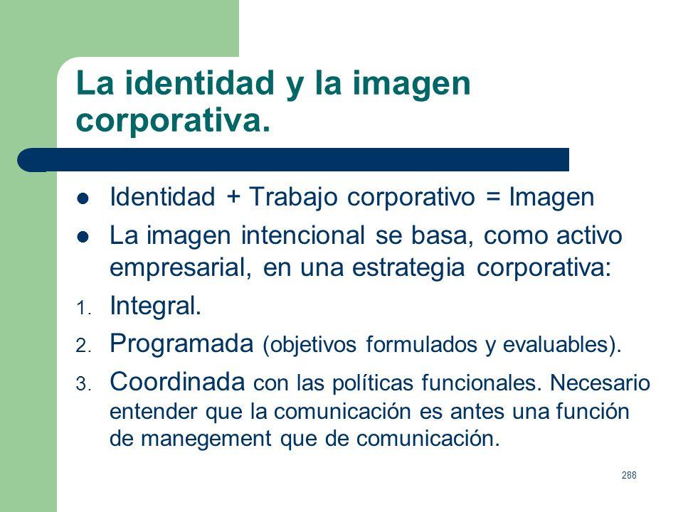 287 La identidad y la imagen corporativa. La Identidad de una empresa es el conjunto de rasgos y atributos que definen su esencia, algunos de los cual