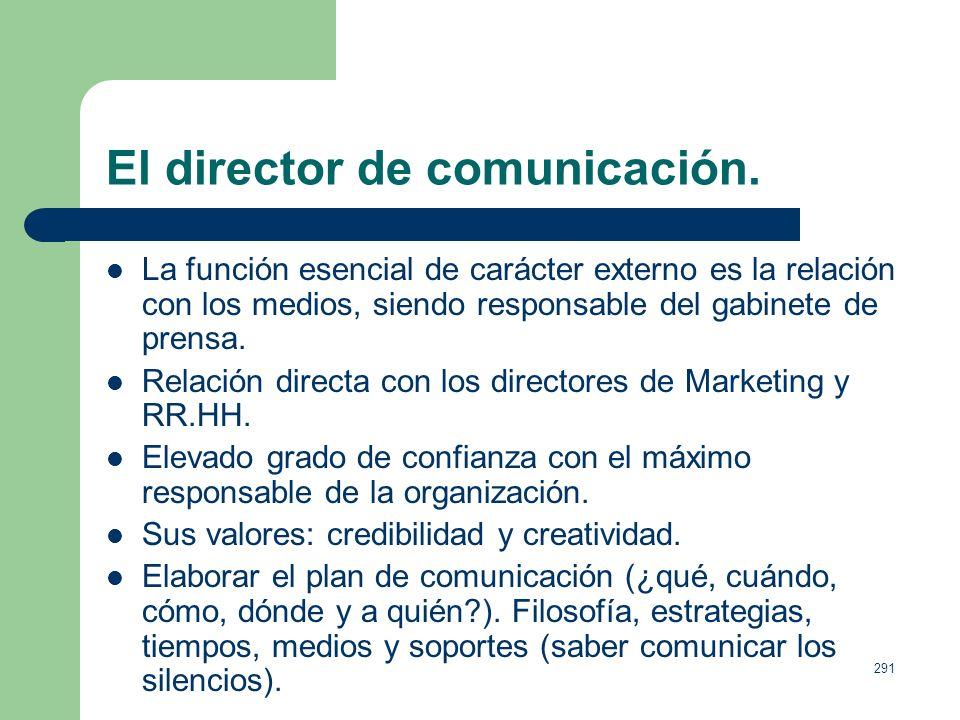 290 El director de comunicación. Para las instituciones del SXXI difundir mensajes sobre su identidad y actividades no es una opción, es necesidad. Ad