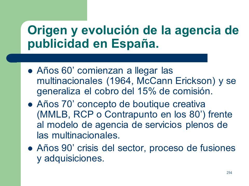 293 Origen y evolución de la agencia de publicidad en España. Hacia 1850 aparecen las primeras, como intermediarias para contratar anuncios en prensa.