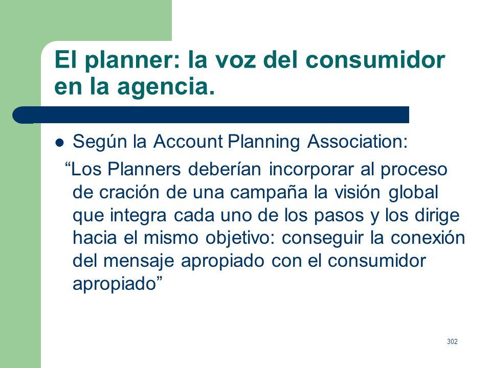 301 El planner: la voz del consumidor en la agencia. Creado por Stephen King y Stanley Pollitt de la agencia BMP (1964). Necesario para los equipos cr