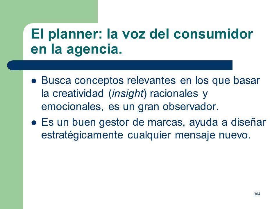 303 El planner: la voz del consumidor en la agencia. Objetivos: Difunden la cultura de la eficacia y recuerdan al resto del equipo que, en todo moment