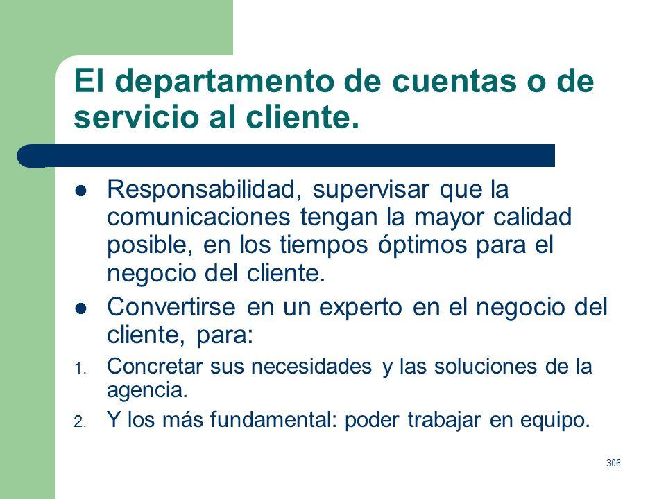 305 El departamento de cuentas o de servicio al cliente. Definición: Intermediarios entre agencia y cliente. Funciones o habilidades: Cuidar las forma