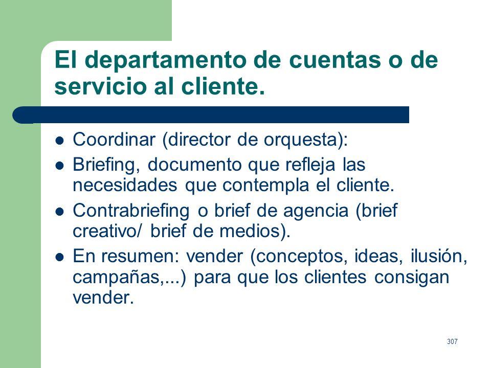 306 El departamento de cuentas o de servicio al cliente. Responsabilidad, supervisar que la comunicaciones tengan la mayor calidad posible, en los tie