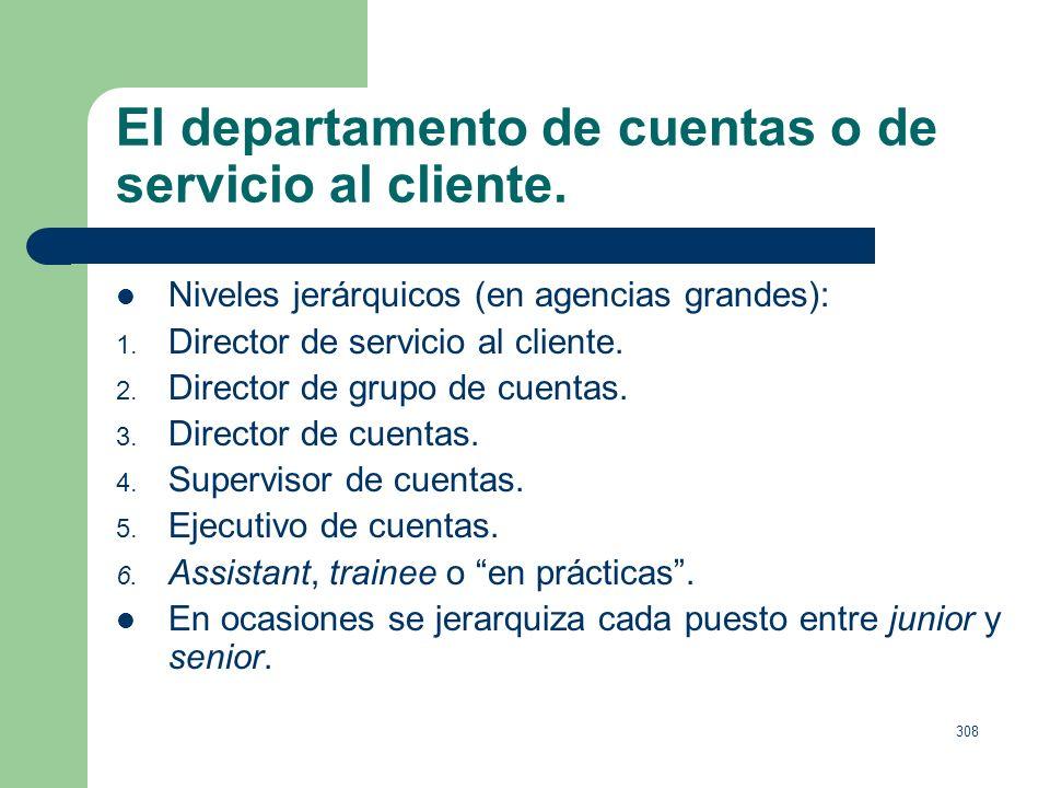 307 El departamento de cuentas o de servicio al cliente. Coordinar (director de orquesta): Briefing, documento que refleja las necesidades que contemp