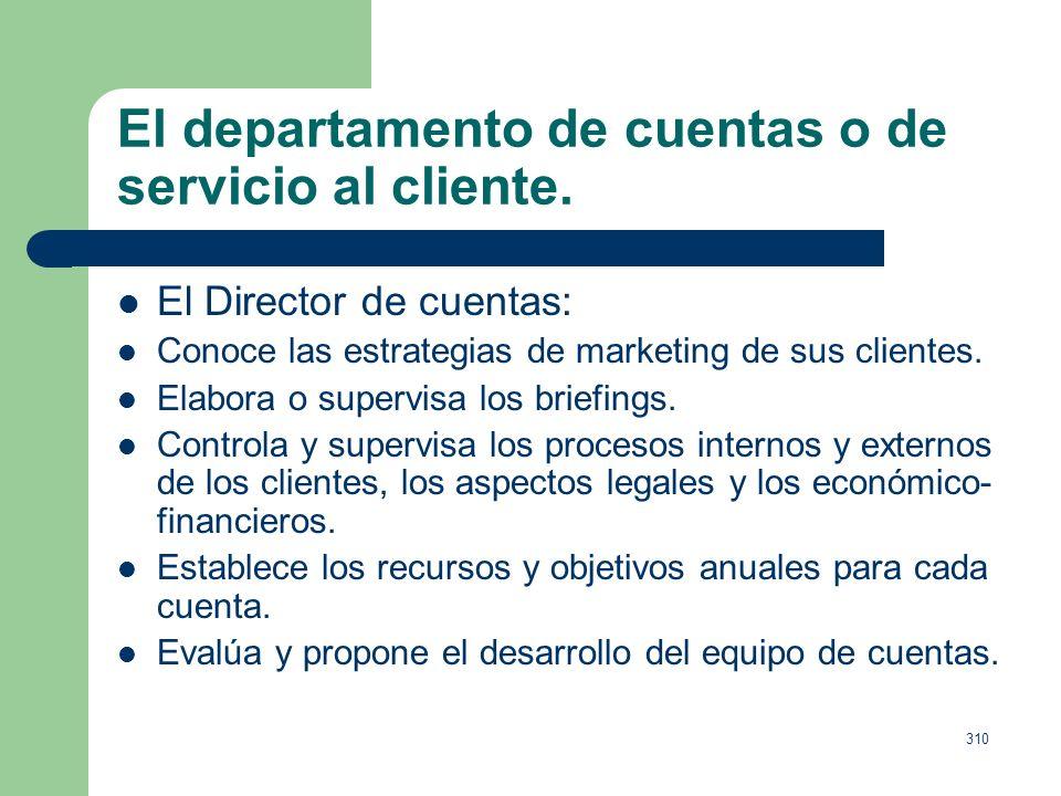309 El departamento de cuentas o de servicio al cliente. Director de servicios al cliente y el Director de grupo de cuentas (ayuda al primero, cargo e