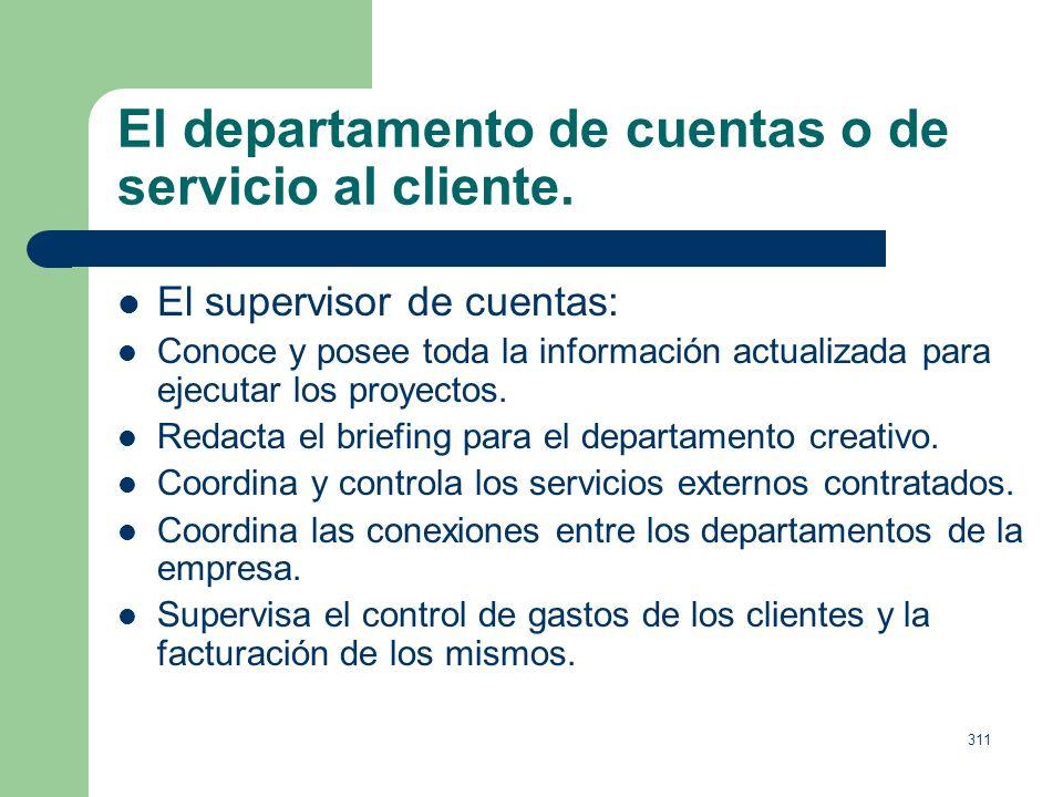310 El departamento de cuentas o de servicio al cliente. El Director de cuentas: Conoce las estrategias de marketing de sus clientes. Elabora o superv