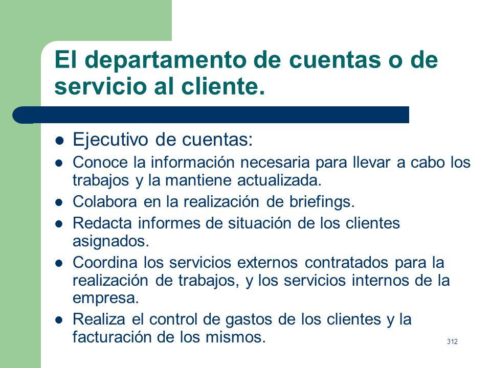 311 El departamento de cuentas o de servicio al cliente. El supervisor de cuentas: Conoce y posee toda la información actualizada para ejecutar los pr