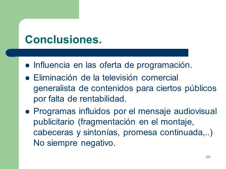 340 La gestión comercial de la cadenas de televisión. Relación entre: 1. Volumen de inversión publicitaria en el medio. 2. Cuota de mercado. En caso d