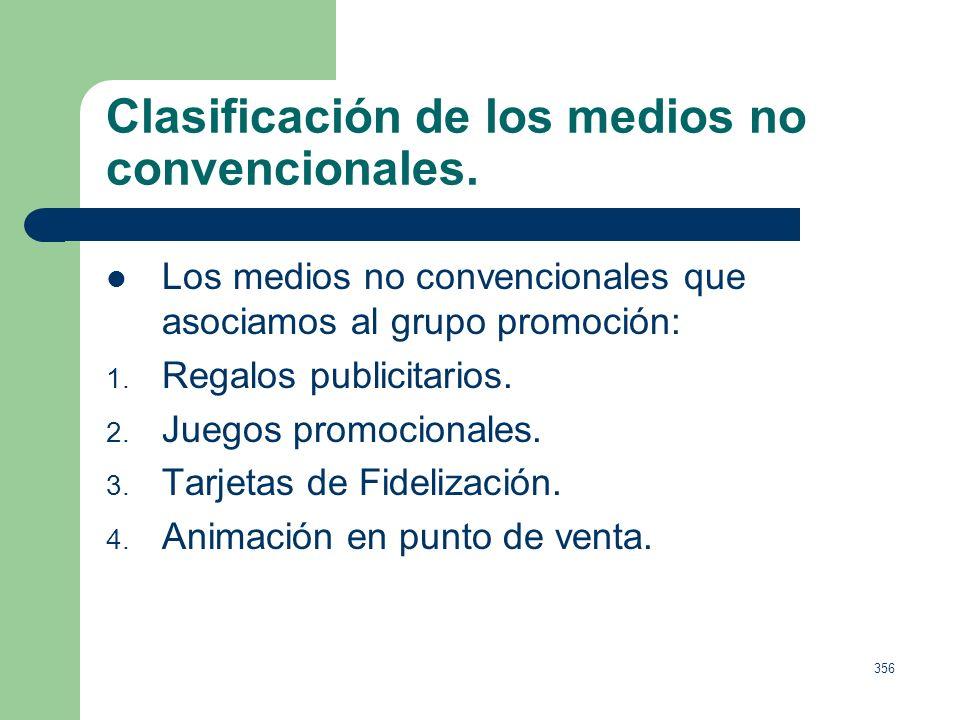 355 Clasificación de los medios no convencionales. Los medios no convencionales que asociamos al marketing directo son: 1. Mailing personalizado. 2. B