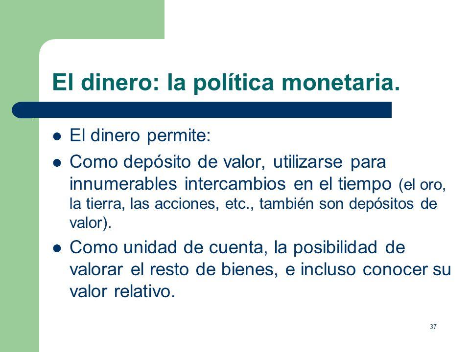 36 El dinero: la política monetaria. Definición de dinero. Cualquier artículo que sirve de medio de cambio, depósito de valor y unidad de cuenta El di