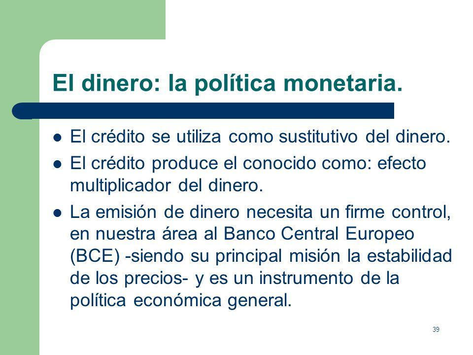 38 El dinero: la política monetaria. La oferta monetaria = total del dinero en circulación. Se acostumbra a definir distintos grados de oferta monetar