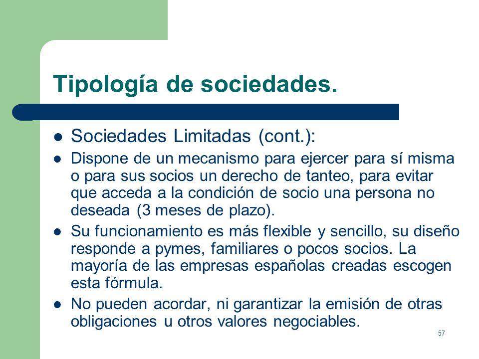 56 Tipología de sociedades. Sociedades Limitadas (cont.): En la denominación de la compañía debe figurar la indicación Sociedad de Responsabilidad Lim
