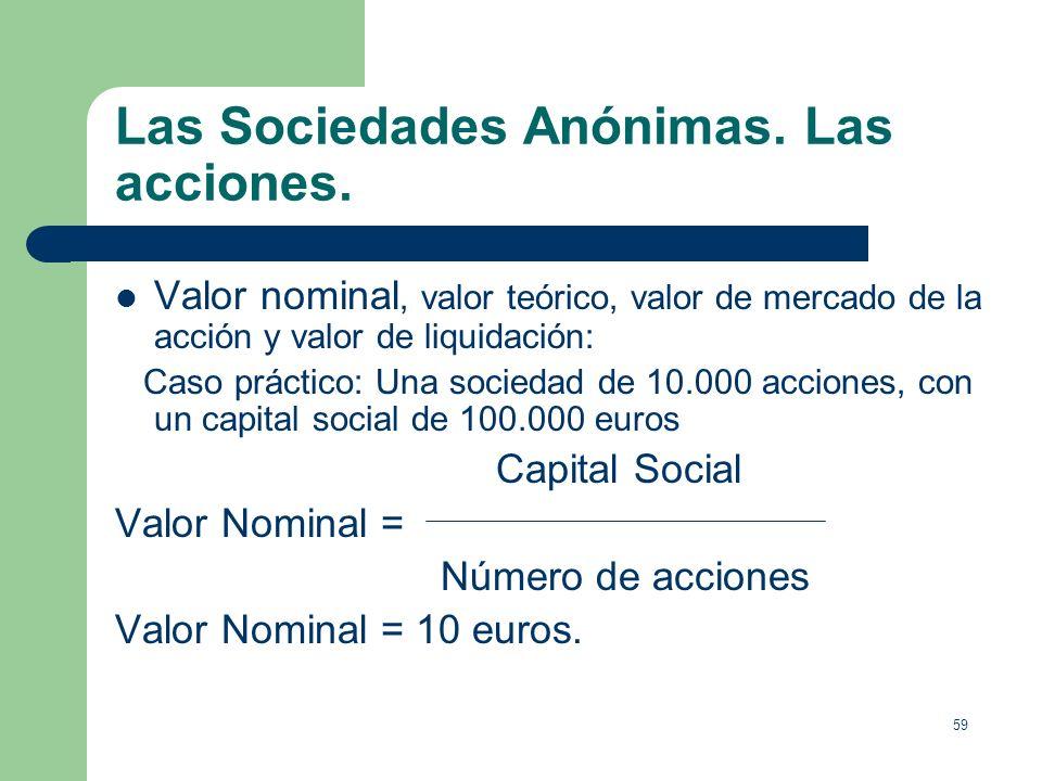 58 Las Sociedades Anónimas. Las acciones. Definición de Sociedad Anónima: En la Sociedad Anónima, el capital, que estará dividido en acciones, se inte