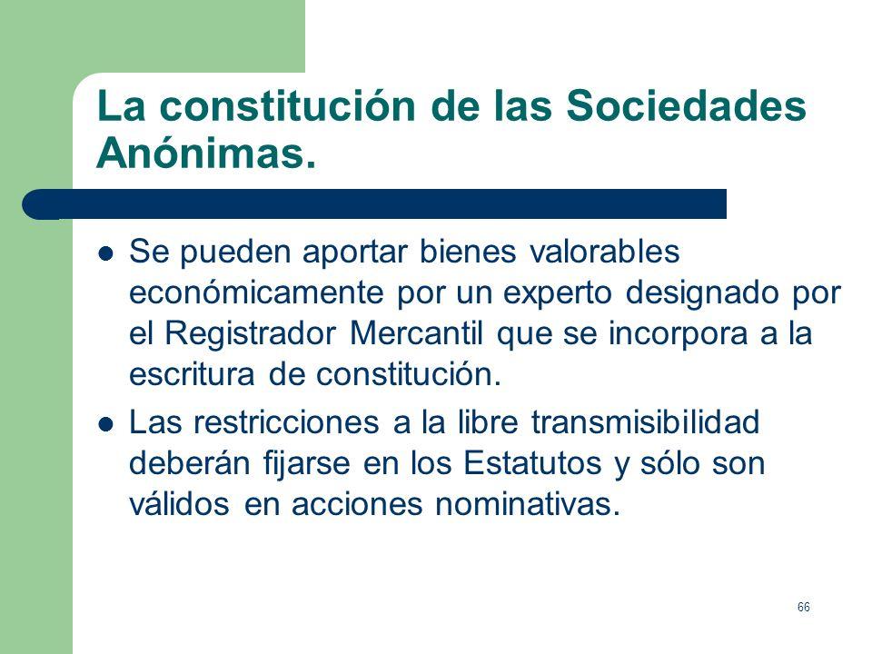 65 La constitución de las Sociedades Anónimas. No existe ni máximo ni mínimo de socios. Los socios fundadores pueden reservarse derechos especiales de