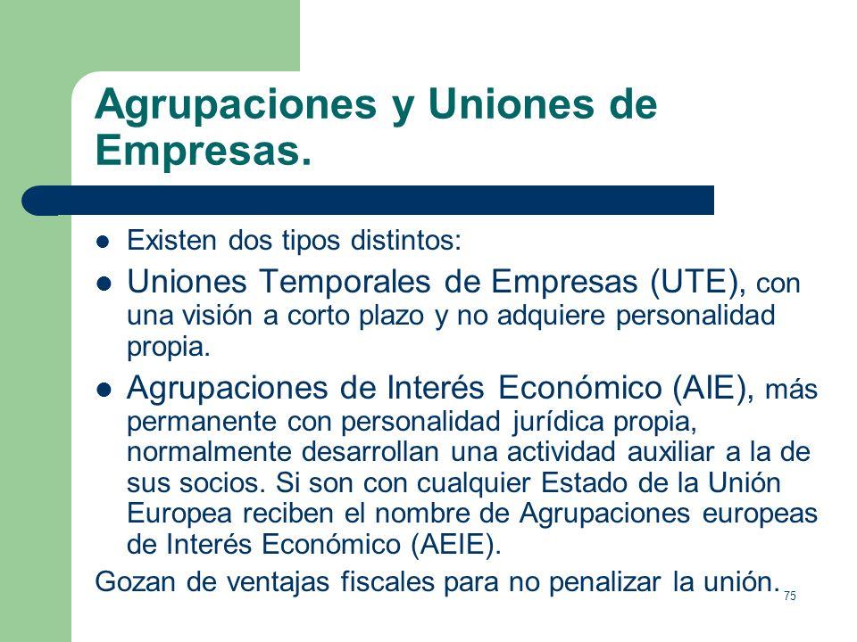 74 Agrupaciones y Uniones de Empresas. En ocasiones dos o más empresas deciden realizar alguna actividad común (introducirse en un nuevo mercado, comp