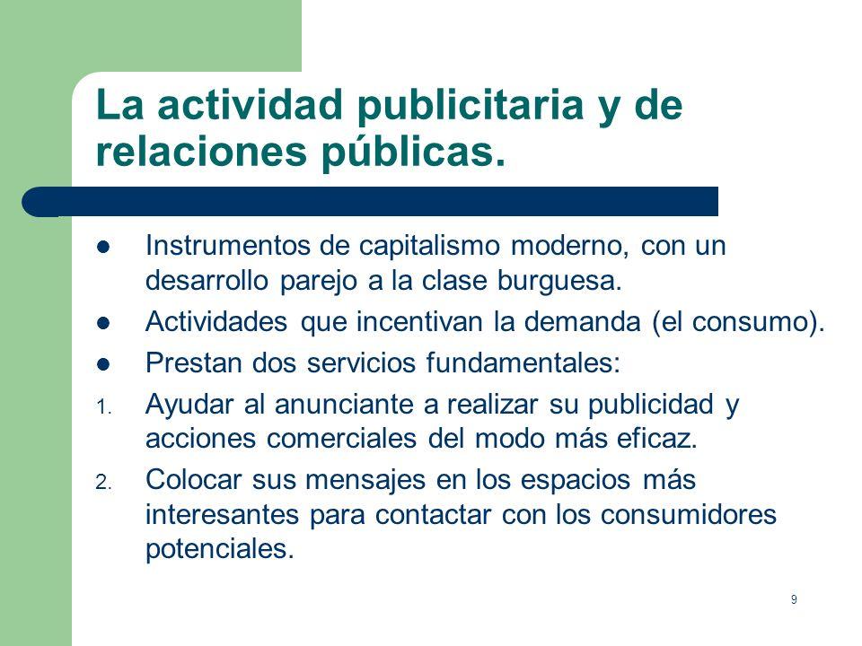 9 La actividad publicitaria y de relaciones públicas.