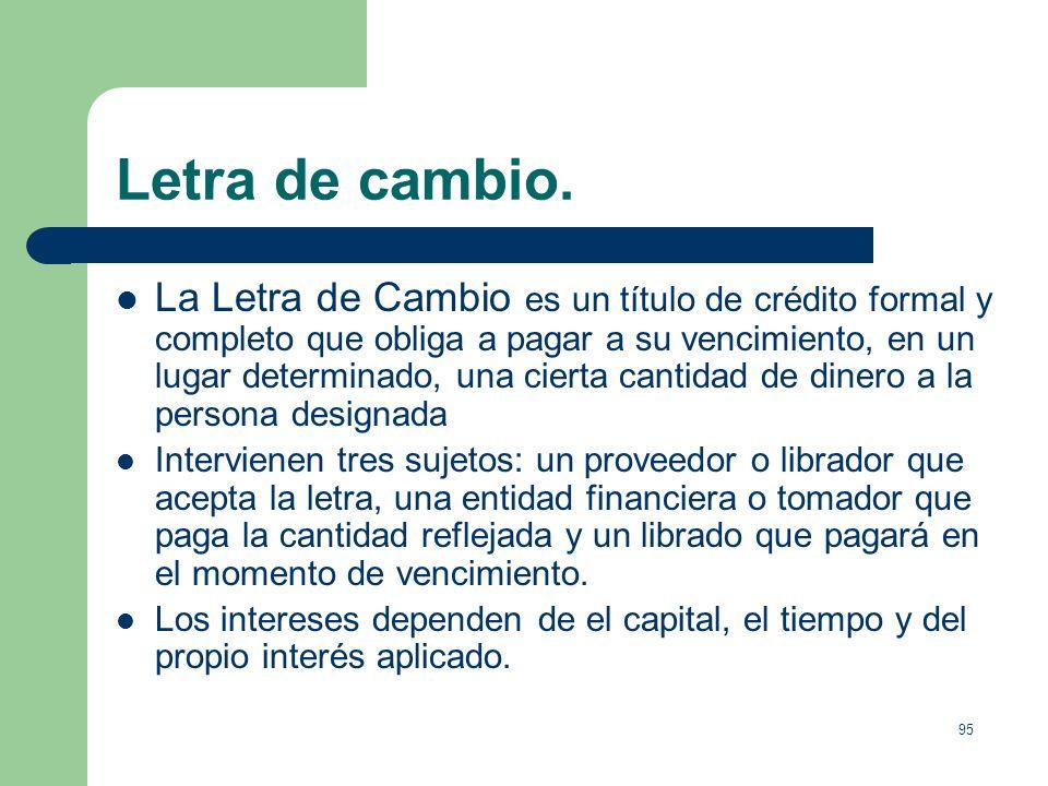 94 Medios de pago. Letra de cambio. Instrumento financiero mediante el cual el proveedor puede recibir dinero anticipado por un banco y el cliente pag