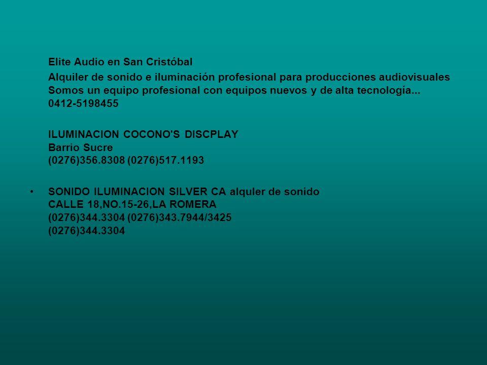 Elite Audio en San Cristóbal Alquiler de sonido e iluminación profesional para producciones audiovisuales Somos un equipo profesional con equipos nuev