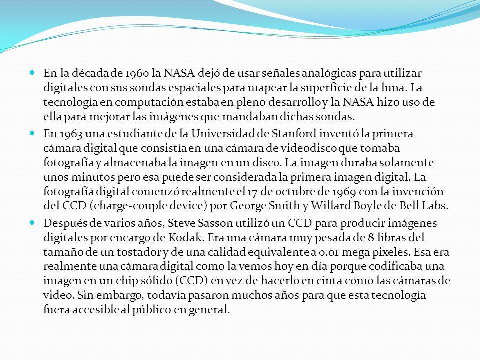 En la década de 1960 la NASA dejó de usar señales analógicas para utilizar digitales con sus sondas espaciales para mapear la superficie de la luna.