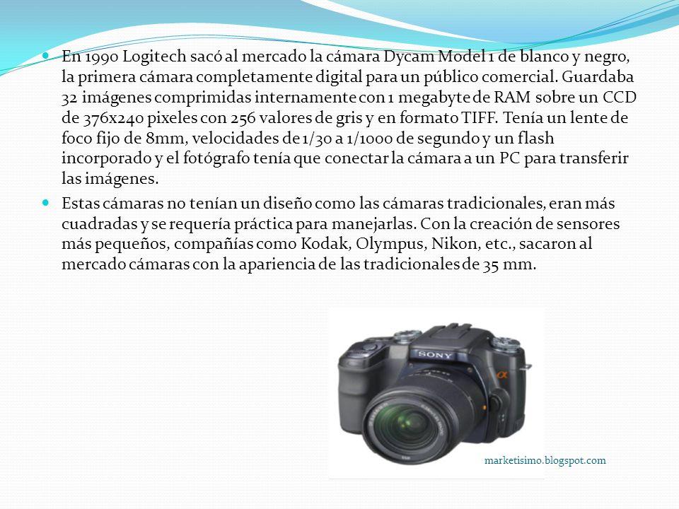 En 1990 Logitech sacó al mercado la cámara Dycam Model 1 de blanco y negro, la primera cámara completamente digital para un público comercial.