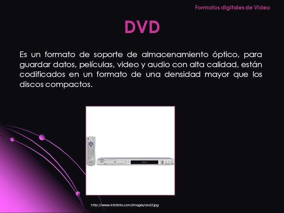 DVD http://www.infotinta.com/images/dvd3.jpg Es un formato de soporte de almacenamiento óptico, para guardar datos, películas, video y audio con alta