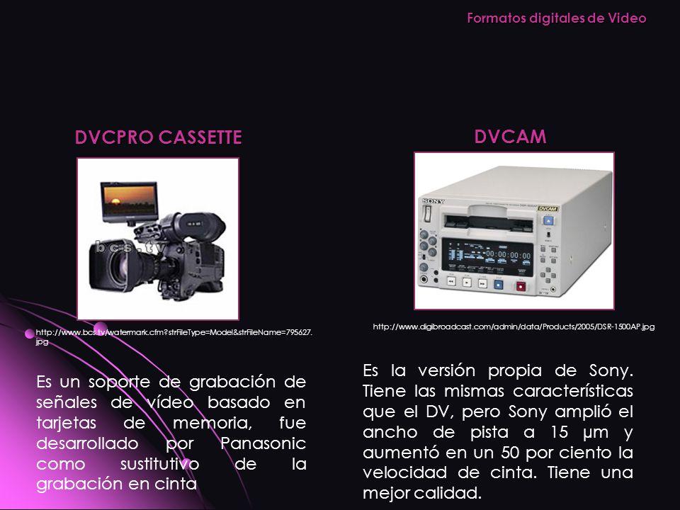 DVCPRO CASSETTE http://www.bcs.tv/watermark.cfm?strFileType=Model&strFileName=795627. jpg DVCAM http://www.digibroadcast.com/admin/data/Products/2005/