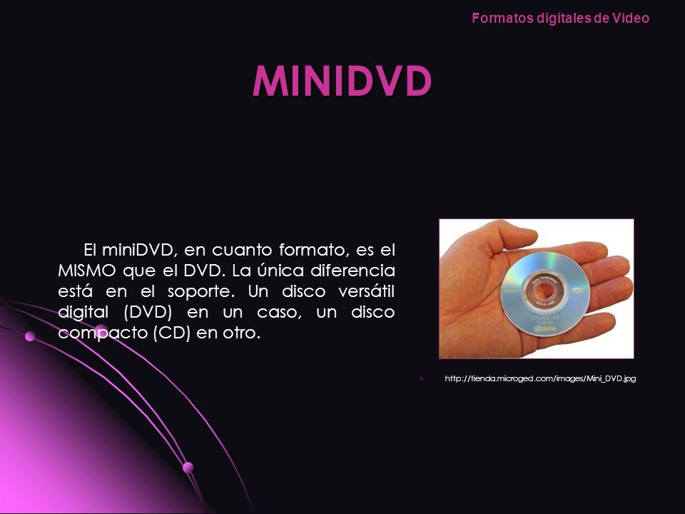 MINIDVD http://tienda.microged.com/images/Mini_DVD.jpg http://tienda.microged.com/images/Mini_DVD.jpg El miniDVD, en cuanto formato, es el MISMO que e