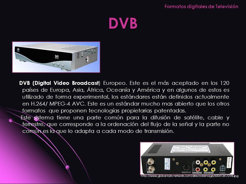 DVB DVB (Digital Video Broadcast ) Europeo. Este es el más aceptado en los 120 países de Europa, Asia, África, Oceanía y América y en algunos de estos