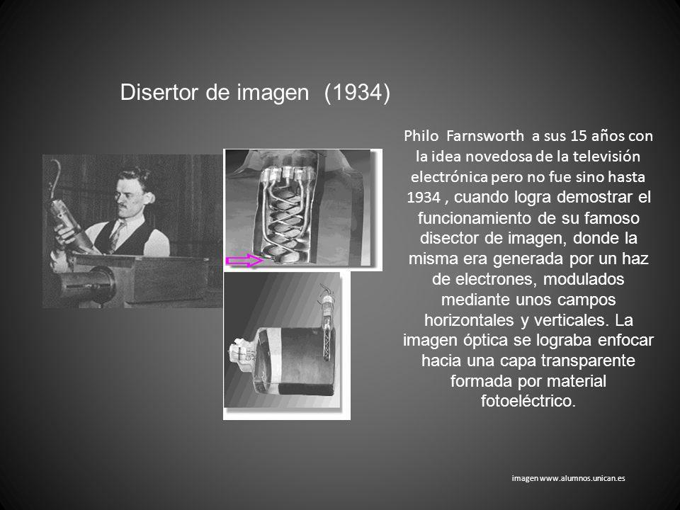 Disertor de imagen (1934) Philo Farnsworth a sus 15 años con la idea novedosa de la televisión electrónica pero no fue sino hasta 1934, cuando logra d