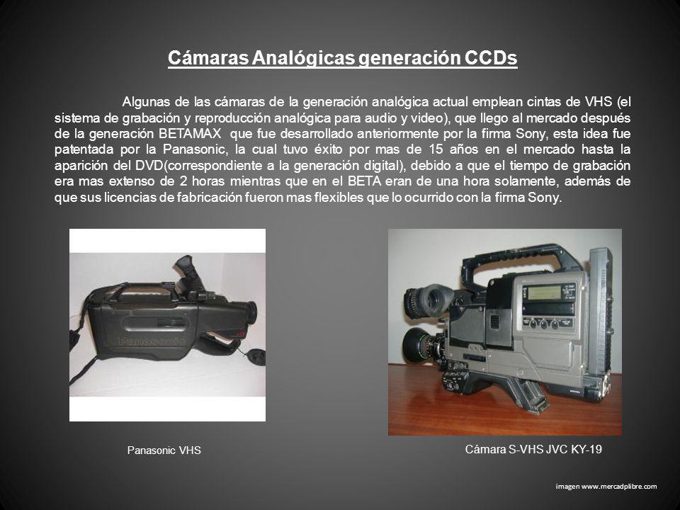 Cámaras Analógicas generación CCDs Panasonic VHS Algunas de las cámaras de la generación analógica actual emplean cintas de VHS (el sistema de grabaci