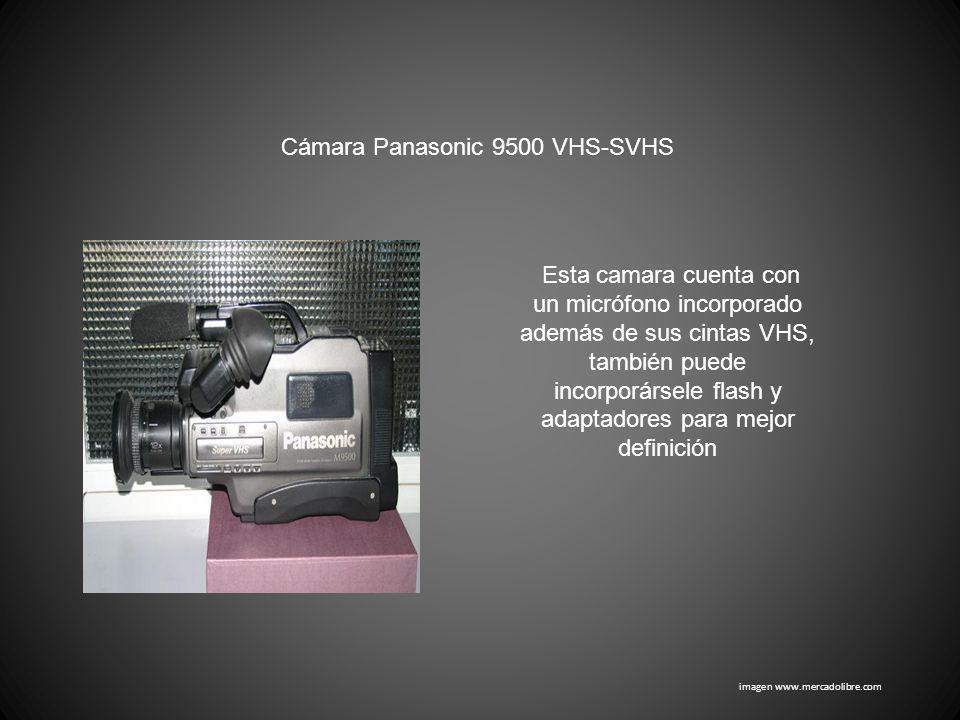 imagen www.mercadolibre.com Cámara Panasonic 9500 VHS-SVHS Esta camara cuenta con un micrófono incorporado además de sus cintas VHS, también puede inc
