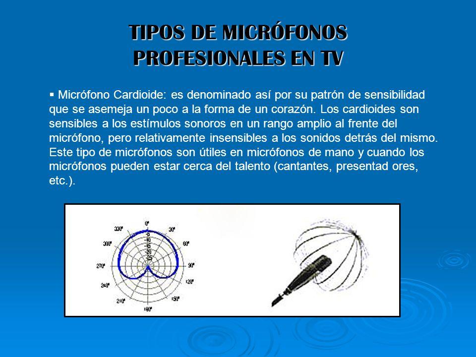 TIPOS DE MICRÓFONOS PROFESIONALES EN TV Micrófono Cardioide: es denominado así por su patrón de sensibilidad que se asemeja un poco a la forma de un c