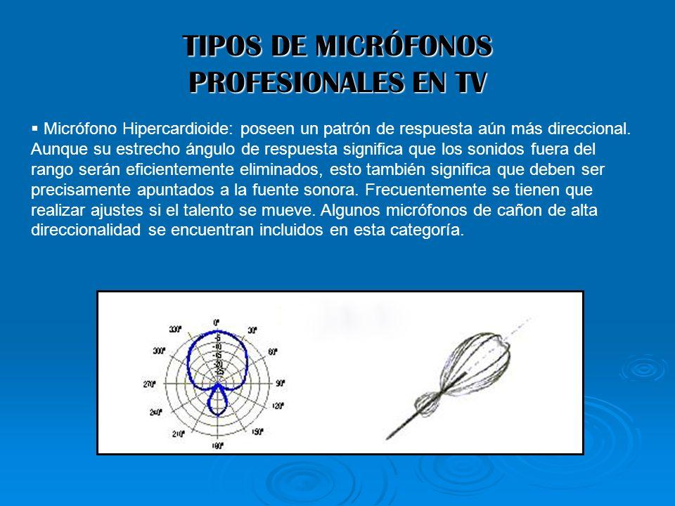 TIPOS DE MICRÓFONOS PROFESIONALES EN TV Micrófono Hipercardioide: poseen un patrón de respuesta aún más direccional. Aunque su estrecho ángulo de resp