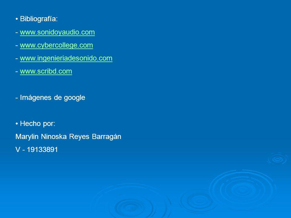Bibliografía: - www.sonidoyaudio.comwww.sonidoyaudio.com - www.cybercollege.comwww.cybercollege.com - www.ingenieriadesonido.comwww.ingenieriadesonido