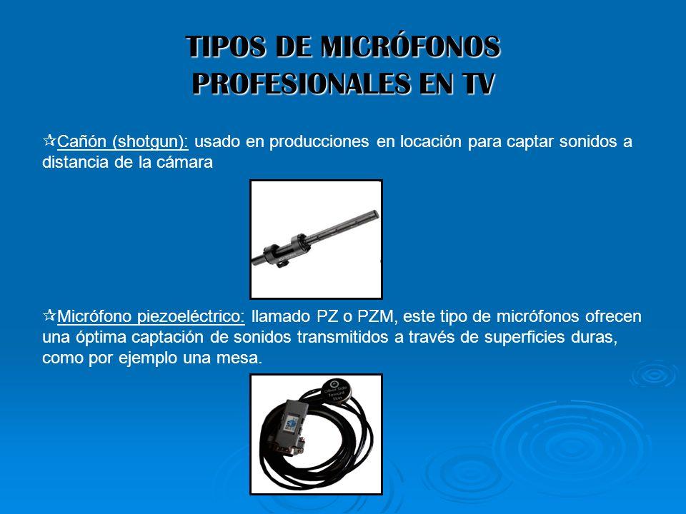TIPOS DE MICRÓFONOS PROFESIONALES EN TV Cañón (shotgun): usado en producciones en locación para captar sonidos a distancia de la cámara Micrófono piez