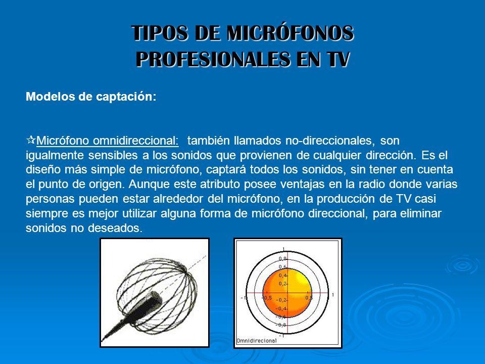 TIPOS DE MICRÓFONOS PROFESIONALES EN TV Modelos de captación: Micrófono omnidireccional: también llamados no-direccionales, son igualmente sensibles a