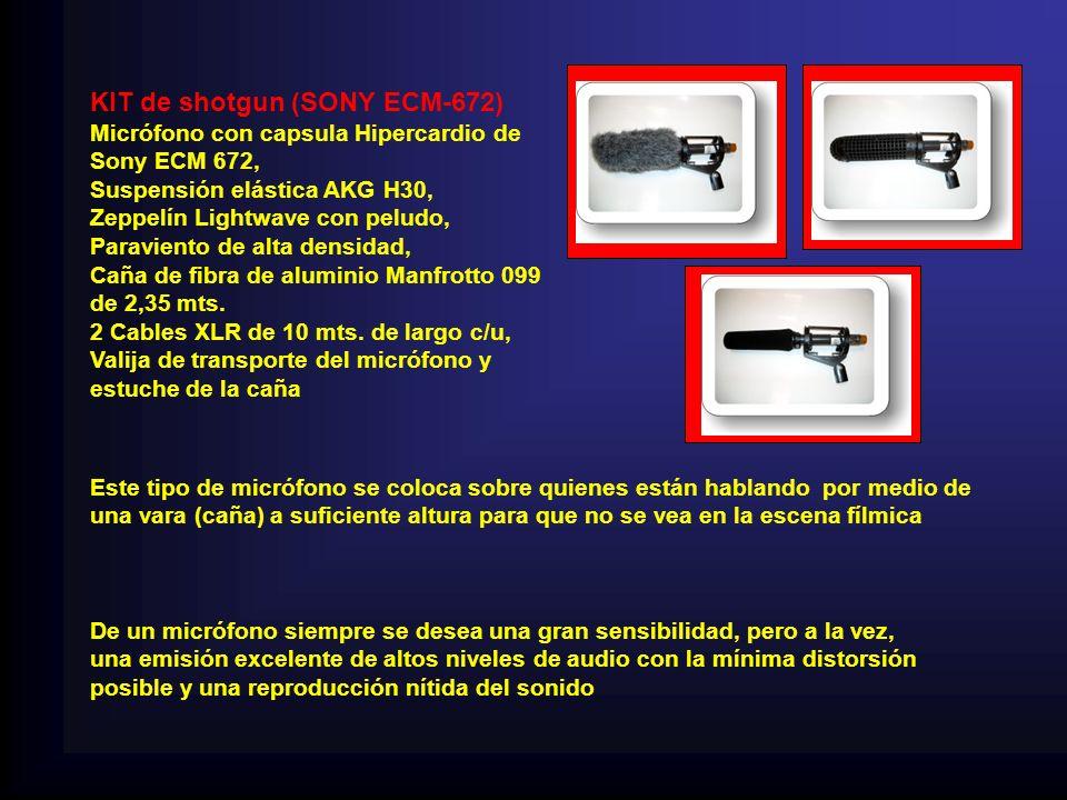 KIT de shotgun (SONY ECM-672) Micrófono con capsula Hipercardio de Sony ECM 672, Suspensión elástica AKG H30, Zeppelín Lightwave con peludo, Paraviento de alta densidad, Caña de fibra de aluminio Manfrotto 099 de 2,35 mts.