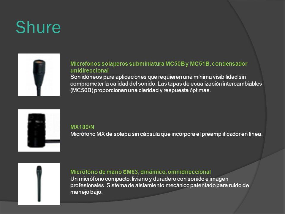 Shure Micr ó fonos solaperos subminiatura MC50B y MC51B, condensador unidireccional Son idóneos para aplicaciones que requieren una m í nima visibilidad sin comprometer la calidad del sonido.