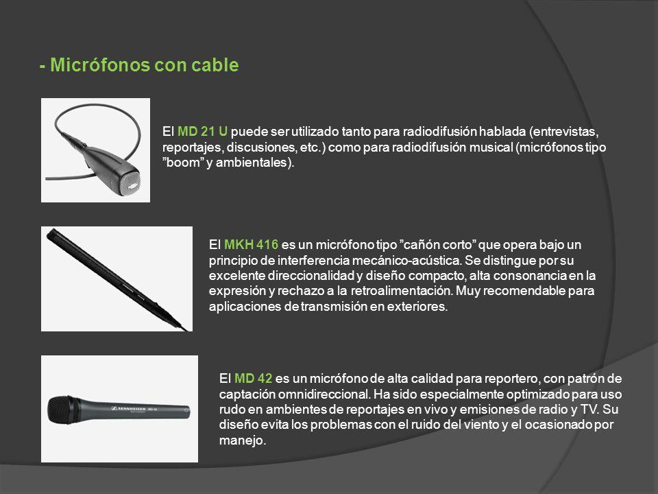 El MKH 416 es un micrófono tipo cañón corto que opera bajo un principio de interferencia mecánico-acústica.