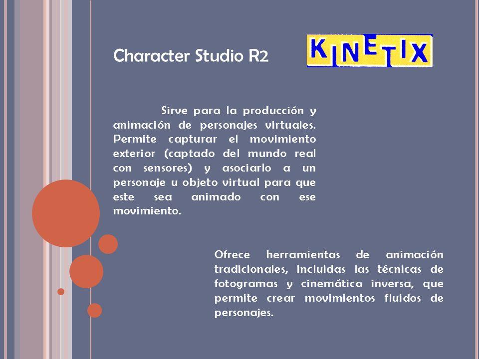 Character Studio R2 Sirve para la producción y animación de personajes virtuales. Permite capturar el movimiento exterior (captado del mundo real con