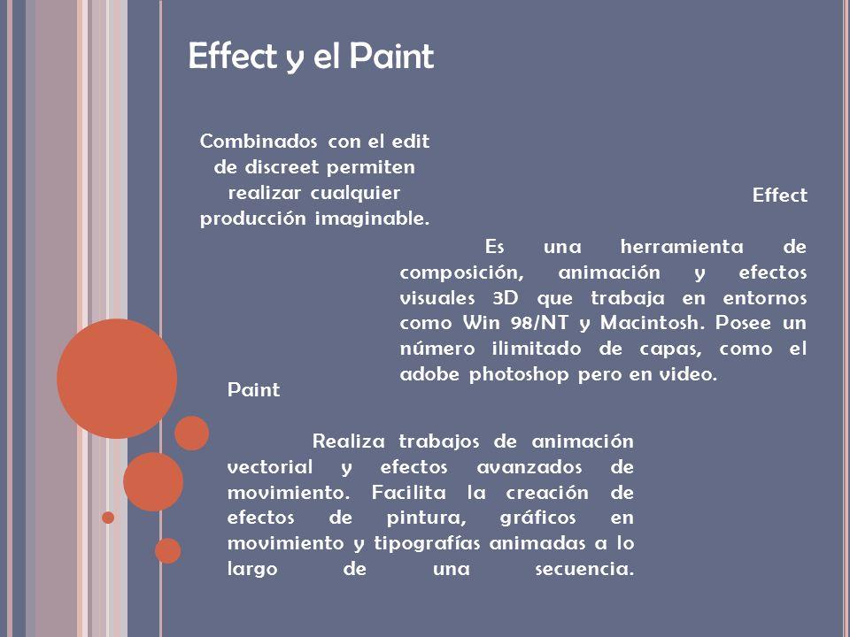 Effect y el Paint Combinados con el edit de discreet permiten realizar cualquier producción imaginable. Paint Realiza trabajos de animación vectorial
